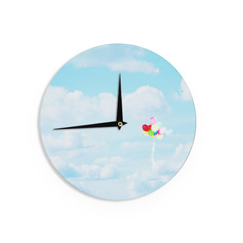 """Sylvia Coomes """"Balloons in the Sky"""" Photography Kids Wall Clock"""