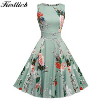 Kostlish Cotton Summer Dress Women 2017 Sleeveless Tunic 50s Vintage Dress Belt Elegant Print Rockabilly Party Dresses Sundress