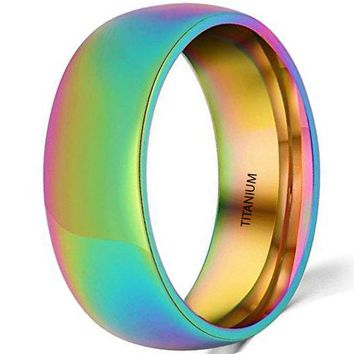 CERTIFIED 8mm Titanium Stainless Steel Rainbow Wedding Engagement Colorful Band LGBT Pride Ring