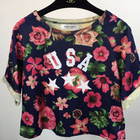 Floral USA Graphic Print Short Sleeve Cropped Top