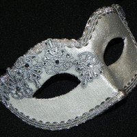 Masquerade Mask in White and Silver with Velvet and Lace Accents