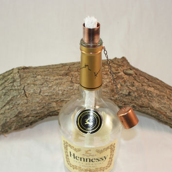 Tiki Torch upcycled from Hennessy Liquor Bottle