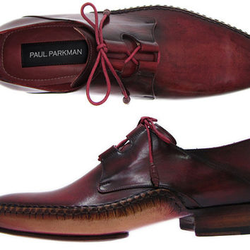 Paul Parkman Men's Ghillie Lacing Side Handsewn Dress Shoes - Burgundy Leather Upper and Leather Sole