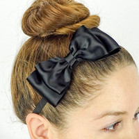 Dolly Bow black Hair Bow Headband stretchy Headband black Bow Headband Huge Hair Bow Women Headband Satin Ribbon bow Black elastic bands