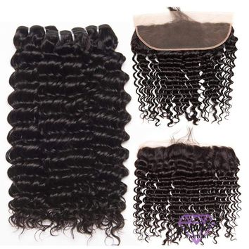 Brazilian Deep Wave Hair Extensions 3 Bundles With Lace Frontal
