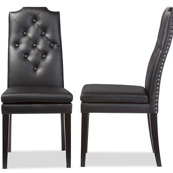 Baxton Studio Dylin Modern and Contemporary Black Faux Leather Button-Tufted Nail heads Trim Dining Chair Set of 2