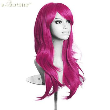 SNOILITE 23 Inch Women Cosplay Wig Halloween Long Curly Synthetic Wigs Hair Rose Red