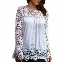8 Colors Tops Fashion Women Gorgeous Lace Long Sleeve Chiffion Blouses  Shirts Hollow Crochet Tops