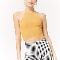 Cropped Ribbed Knit Halter Top
