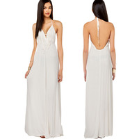 White Deep V-Neck Halter  Fringed Backless Maxi Dress