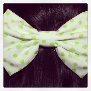 Green and White Polka Dot Hair Bow