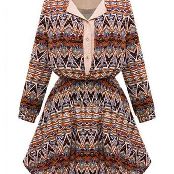 Fashion Printed Long Sleeve POLO Collar/Lapel Single-breasted Mini Chiffon Dress