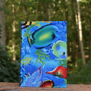 Blue Fish Journal, Sketchbook, Notebook, Memories, Graduation Gift, Write a Novel, Drawing, Diary, Back to School, Lays Flat to wire