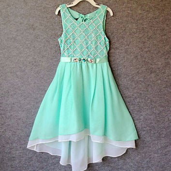 "The ""Nicole"" Girls & Tween Mint Chiffon High Lo Party Dress"