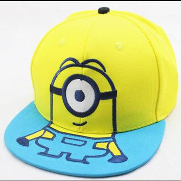 2016 New Children Cartoon Steal Dads Film Yellow People Minions Snapback Flat Along the Baseball Cap Hip-Hop Hat