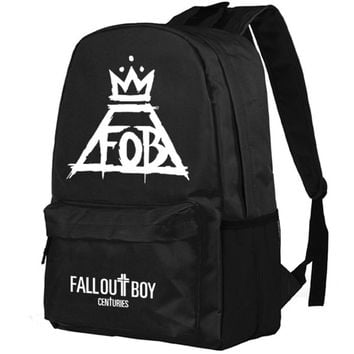 BACKPACK FALL OUT BOY FOB Punk rock band Backpack School Students Schoolbag