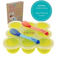 TUTTI BIMBI Baby Food and Breastmilk Storage Container for Puree and Baby Led Weaning - Mom approved Freezer Tray with Silicone Clip-on Lid - BPA Free - 2 Heat Sensitive Spoons