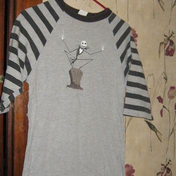 Vintage Tim Burtons Nightmare before Christman striped shirt size small
