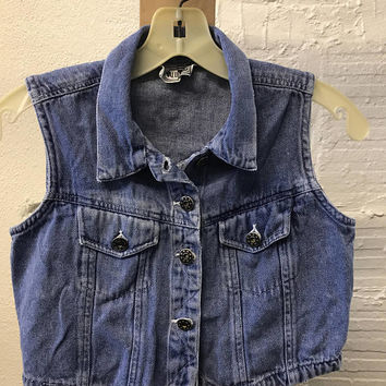 Jean Denim vest Vintage 1990s MALUMALU Cotton Blue Cropped