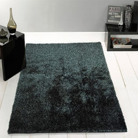 Solid Black Ash Shag Area Rug Amore Collection Hand Tufted Weave