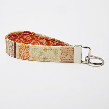 Fabric Keychain, Handmade Key Fob, Wristlet Strap - Burnt Orange and Tan Lace