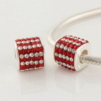 1pc 925 Sterling Silver Charms Red and White Crystal Beads Compatible with Pandora Chamilia Kay Troll European Bracelets