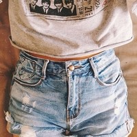 Shorts: shirt gray t-shirts grunge the beatles crop tops the beatles, shirt, summer, , denim beatles