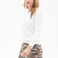 LOVE 21 Lattice Knit Sweater Ivory