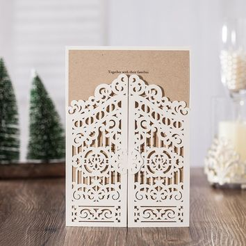 1pcs Sample White Laser Cut Luxury Wedding Invitations Card Elegant with Envelopes Seals Favor Wedding Event & Party Supplies