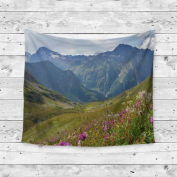 """Floral Mountain"" Open Flower Field Wall Tapestry"