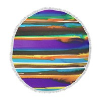 "Miranda Mol ""Multicolor Sunset"" Purple Gold Abstract Stripes Watercolor Painting Round Beach Towel Blanket"