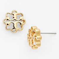Women's Tory Burch Logo Flower Stud Earrings - Shiny Gold