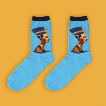 Egyptian Queen Nefertiti Socks | Blue