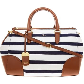 RALPH LAUREN Navy & White Stripe Double Zip Satchel
