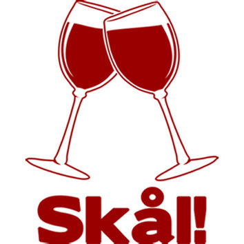 Wine Glass Swedish Cheers (Red) Plastisol Heat Transfer