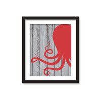 Sea art, Sea, Nautical - Navy -Anchor - octopus - Paddle boat- summer -sea  wood - red, blue