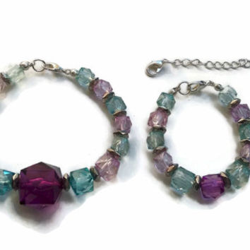 Mother and Daughter Matching Pink and Blue Cubes Bracelet Set - SET025