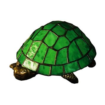 "Meyda 4""H Turtle Tiffany Glass Accent Lamp"