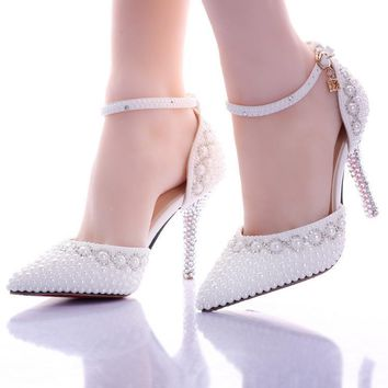 wedding heels White pearl rhinestone wedding shoes ultra high heels thin heels shoes pointed toe bridal pumps sandals