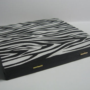Black and White Zebra Print Black Glitter Magnetic Freedom Makeup Palette