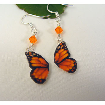 Butterfly Wing Pixel Sprite Earrings  retro game by CatrinasToybox