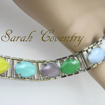 Vintage Sarah Coventry Faux Gemstone Silver Tone Panel Bracelet / Designer Signed / Costume Jewelry / Jewellery