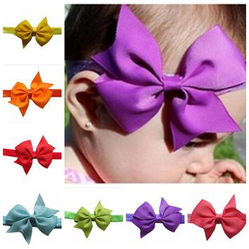 Baby Hair Accessories ribbon Toddler Girl Kids bow V-Ribbed swallowtail ribbon bow children knitted headband 22 color