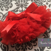 RED BLOOMER with BOW, chiffon ruffle diaper cover, photo prop, newborn ruffle bloomer, christma-several colors to chose from-ready to ship!