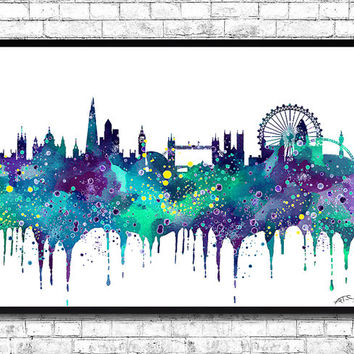 London Watercolor Print Blue/Purple City Skyline London Watercolor City Watercolor City Silhouette Wall Hanging Home Decor Giclee Wall Art