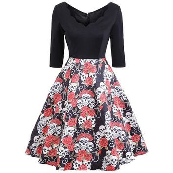 Women Elegant Pinup Vintage Retro Lace mesh V neck Patchwork slim waist swing skull floral print Party ball gown Dress