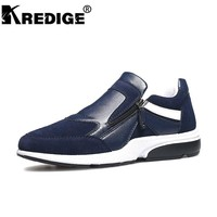 KREDIGE Genuine Leather Casual Shoes Men Brand Luxury Breathable Mesh Men Loafers Drivers Convenient Slip-On Large Size Shoes