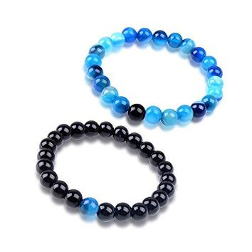 Paxuan Mens Womens 2pcs Imported Natural Gemstone Blue Tiger Eye amp Black Agate Beaded Energy Distance Bracelets Couples His and Hers Stretch Beads Bracelet Set 8MM