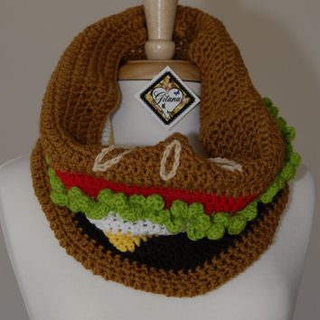 Burger Crochet Cowl- Food Scarf- Crochet Scarf- Women Scarf -Kawaii- Unique Scarf- Neck Warmer-Made To Order