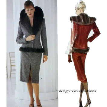 ALEXANDER MCQUEEN for GIVENCHY Faux Fur Collar Jacket & Skirt Pattern Vogue 2228 Womens Sewing Patterns UNCuT Size 8 10 12 French Couture